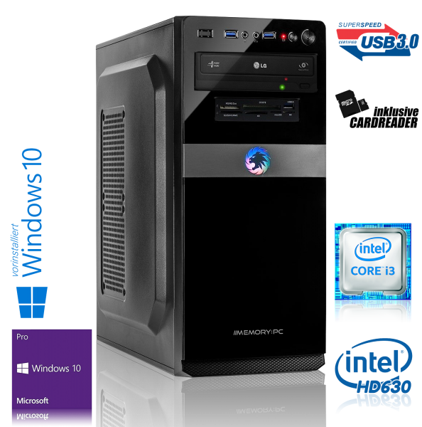 Intel PC Core i3-7100 7. Generation (Dualcore) Kaby Lake 2x 3.9 GHz, ASUS, 8 GB DDR4, 120 GB SSD