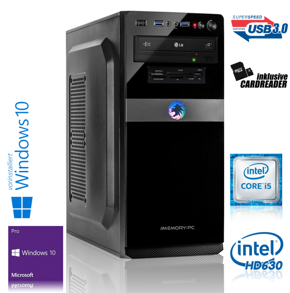 OFFICE PC INTEL i5-7500 4x3.40GHz | 8GB DDR4 | UHD 630 | 120GB SSD + 1TB HDD | Win 10 Pro