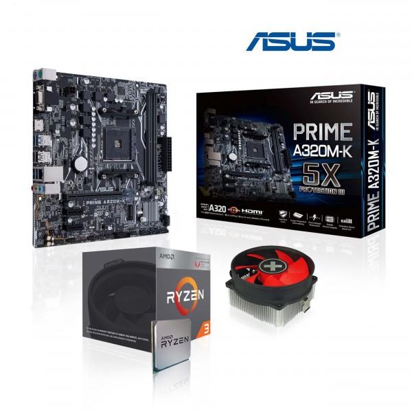 Aufrüst-Kit: ASUS PRIME A320M-K - AMD Ryzen 3 2200G 4x 3.5 GHz - 0 GB DDR4 - AMD Vega 8 Grafik 2GB