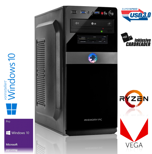 OFFICE PC AMD Ryzen 5 2400G 4x3.6GHz | 8GB DDR4 | Vega 11 | 1TB HDD | Win 10 Pro