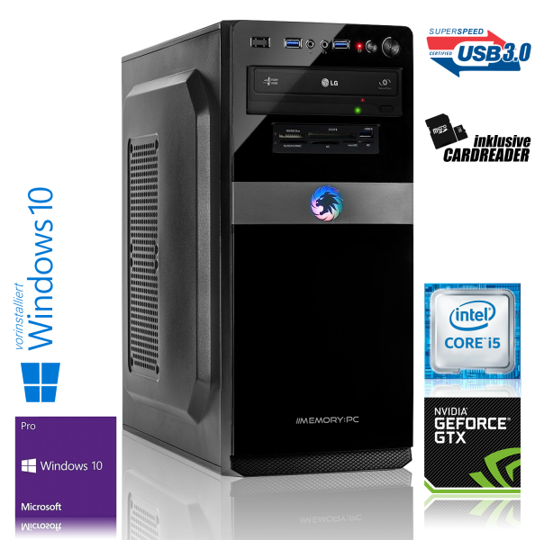 GAMING PC INTEL i5-7500 4x3.40GHz | 16GB DDR4 | GTX 1050 Ti | 240GB SSD + 2TB HDD | Win 10 Pro