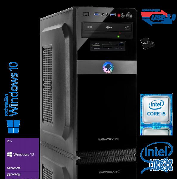 Desktop PC Intel Core i5-7600K Quadcore, 8 GB DDR4, 240 GB SSD + 1000 GB, Windows 10 Pro 64bit