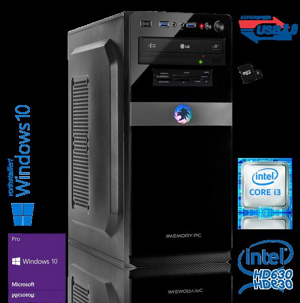 Desktop PC Intel Core i3-8100 QuadCore, 8GB DDR4, 240GB SSD + Windows 10 Pro + W-Lan 300 Mbit