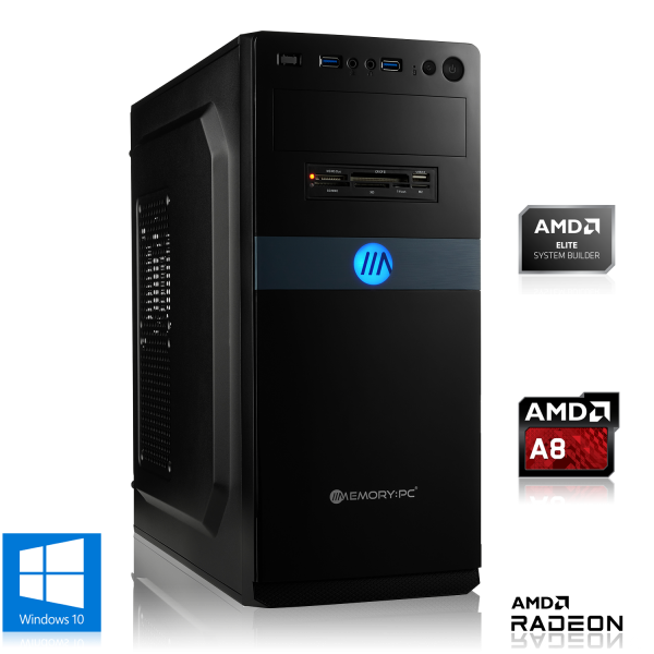 OFFICE PC AMD A8-9600 4x 3.10GHz | 4GB DDR4 | Radeon R7 | 1000GB HDD | Win 10 Home
