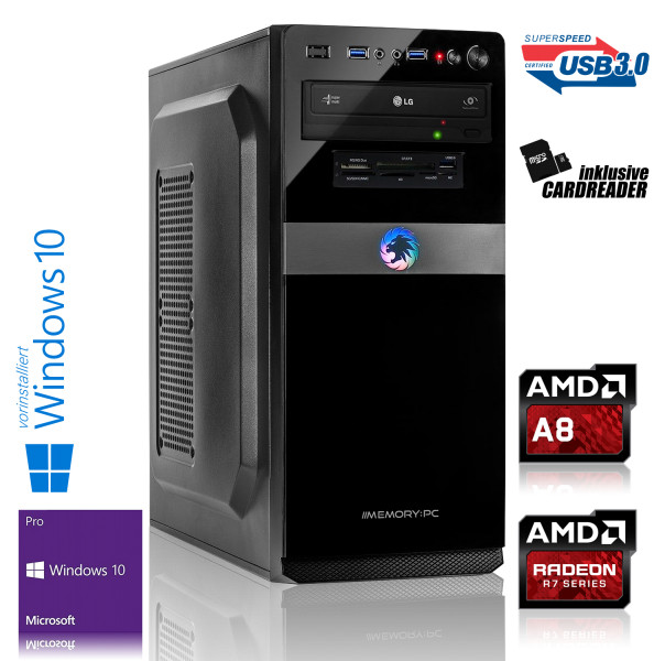 OFFICE PC AMD A8-9600 4x3.10GHz | 8GB DDR4 | Radeon R7 | 1000GB HDD | Win 10 Pro
