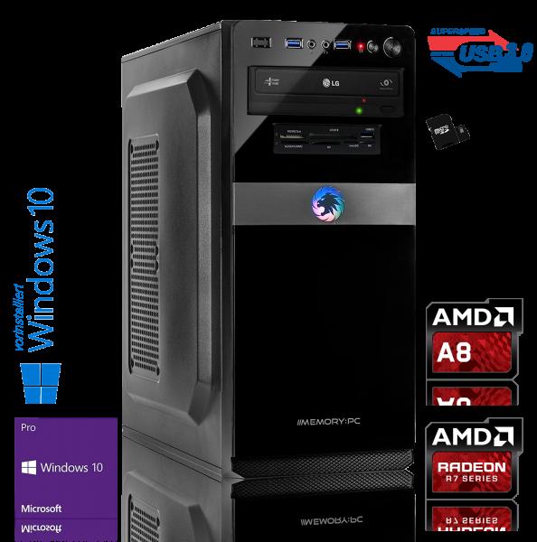 OFFICE PC AMD A8-9600| 8GB DDR4 | Radeon R7 | 240GB + 1000GB HDD | Win 10 Pro